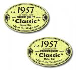 PAIR Distressed Aged Established 1957 Aged To Perfection Oval Design Vinyl Car Sticker 70x45mm Each